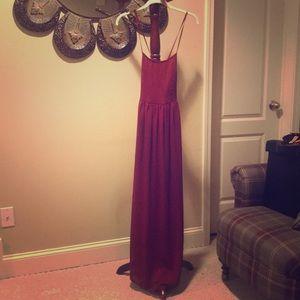 Wine maxi crossing dress